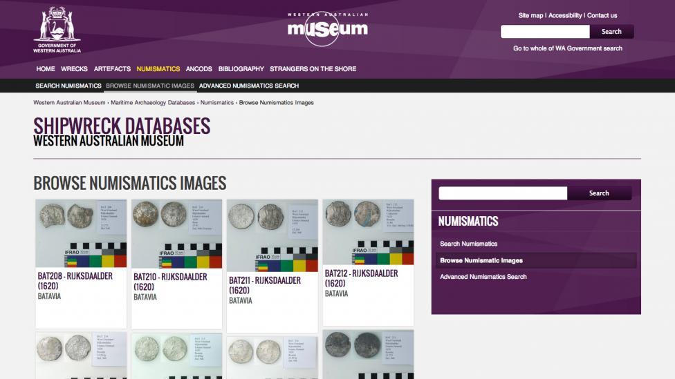 Screen grab of the Numismatics Database website