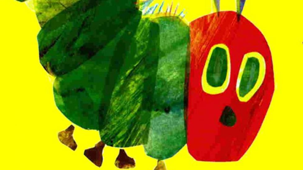 """""""A coloured illustrated caterpillar from the book The Very Hungry Caterpillar."""""""