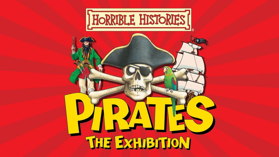 """""""An illustration of a skull and crossbones next to the title of the exhibition."""""""