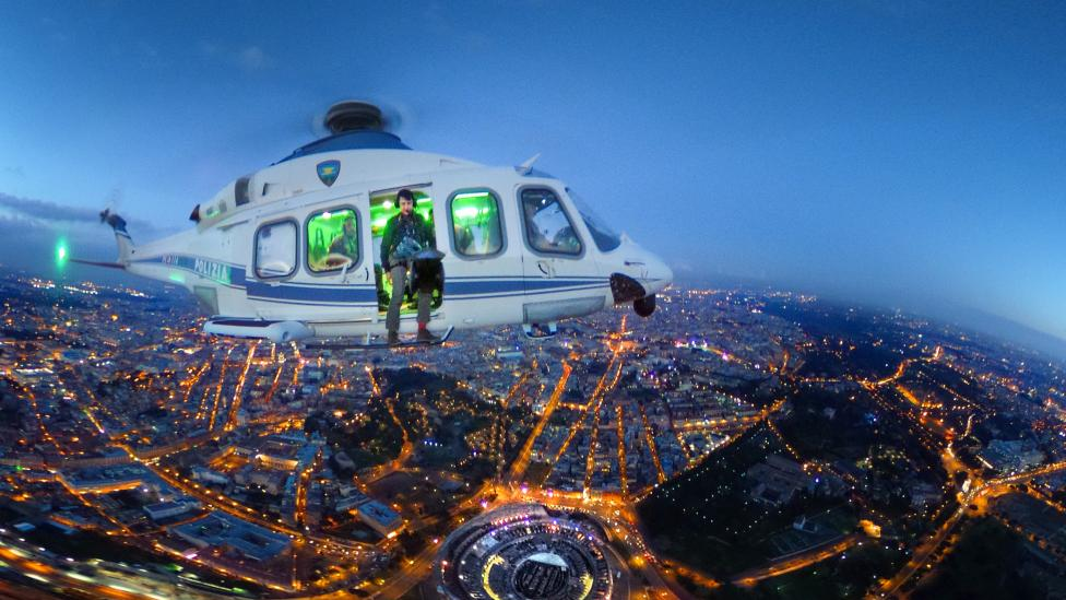 Twilight skylines from Police helicopters