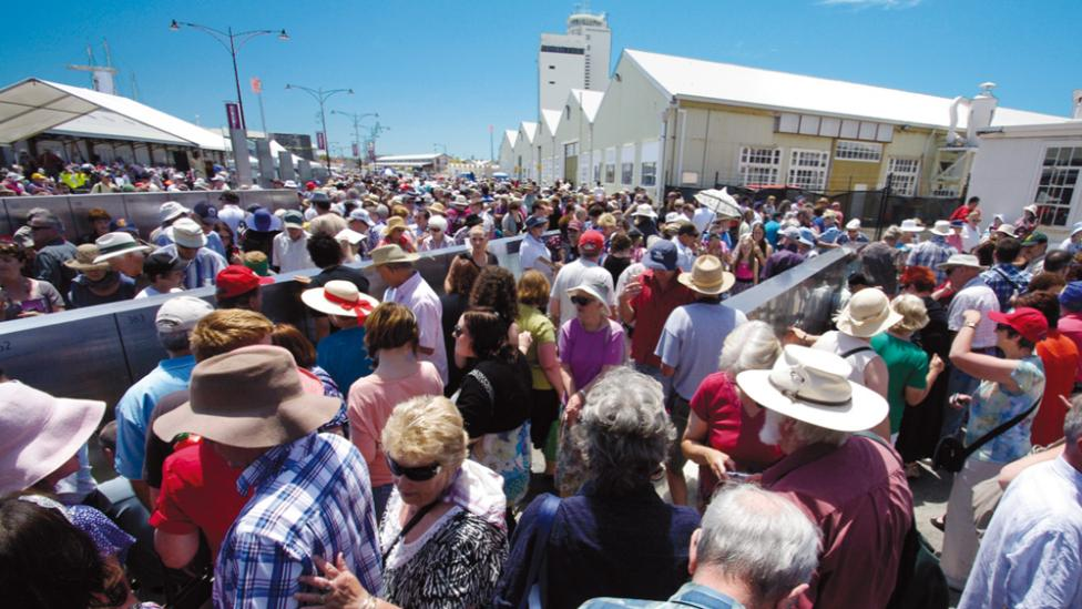 Thousands of people gathered for the launch of the Welcome Walls in Fremantle