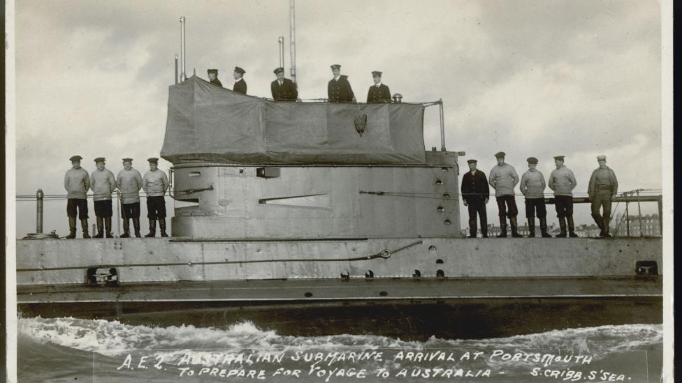 Australian submarine AE2 with crew on deck at Portsmouth, 1914.