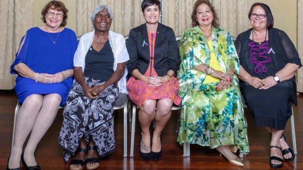 2019 inductees (L-R) Prof. Rhonda Marriott, Annie Nayina Milgan, Rischelle Hume AM, Irene Stainton, Dawn Wallam
