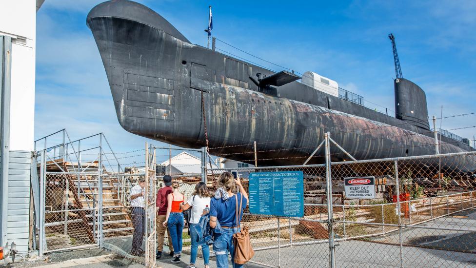 HMAS Ovens, an Oberon class submarine, located outside the WA Maritime Museum