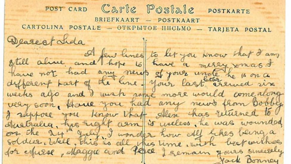 A postcard from Jack Bonney to Eliza 'Lida' Jane Downey