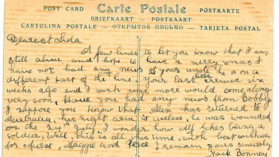 A hand written postcard from world war one