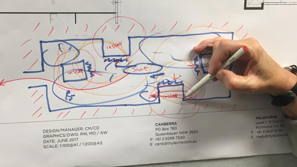 Hand sketches on rough drawing of exhibition floor plan