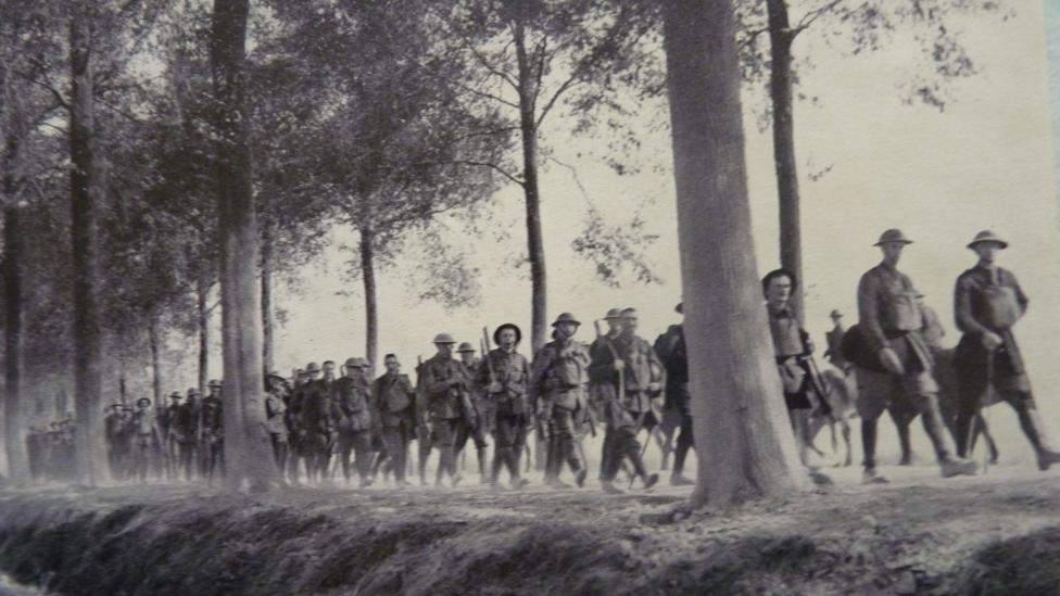 Soldiers moving into the fighting at Broodseinde on 5 October 1917
