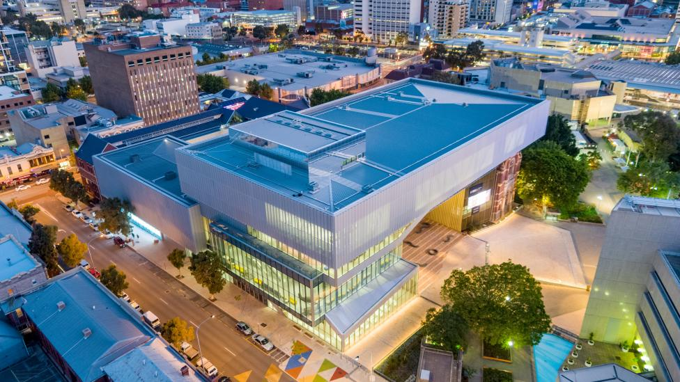 The WA Museum Boola Bardip exterior from above