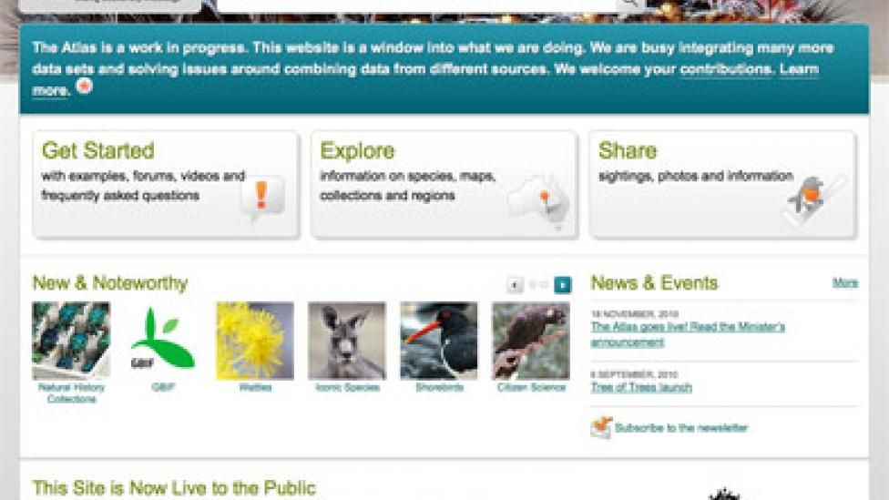Screen grab of the homepage to the Atlas of Living Australia