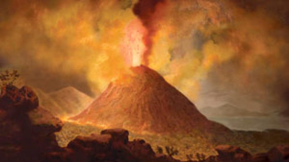 Illustration of an eruption of Mount Vesuvius