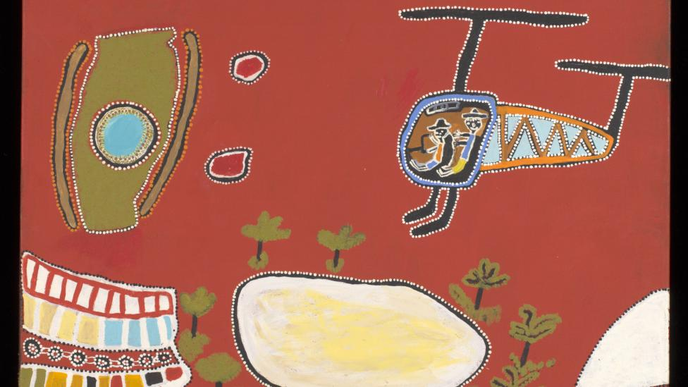 Helicopter Ride with Brooksy to See My Father's Ngurra (Country) 2011 by Ken Shepherd acrylic on canvas © Ken Shepherd