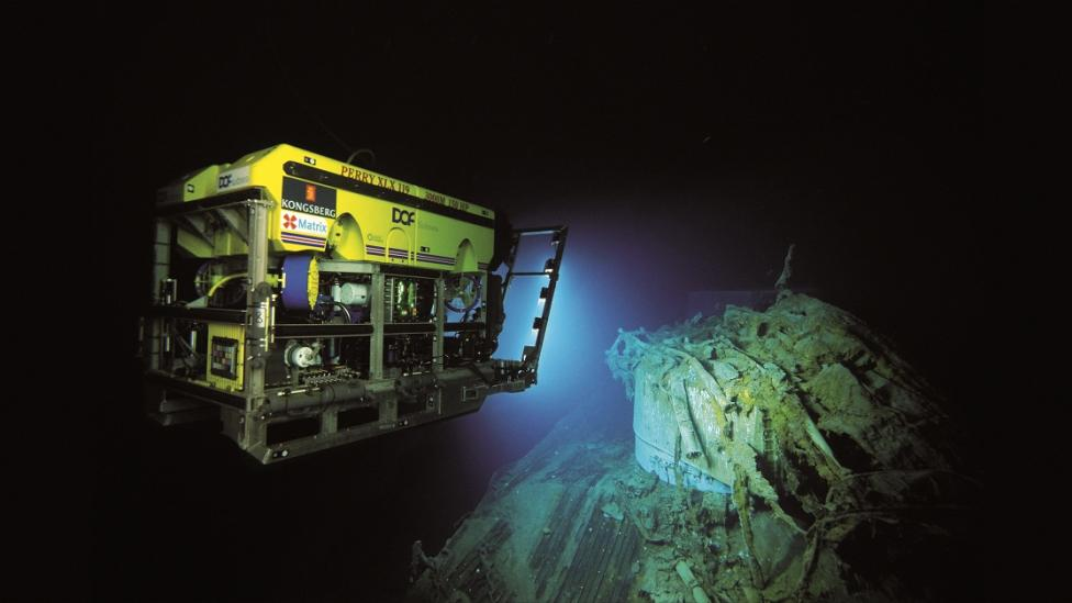 A remotely operated vehicle being used to take photo and video images of the wreck of HMAS Sydney II. Image courtesy Curtin University and the WA Museum