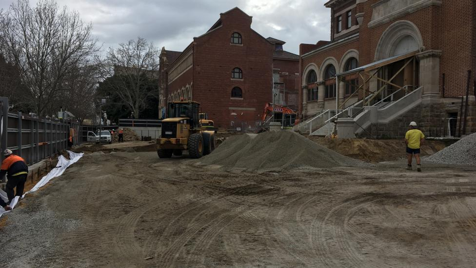 The area facing James Street is levelled ready for major construction
