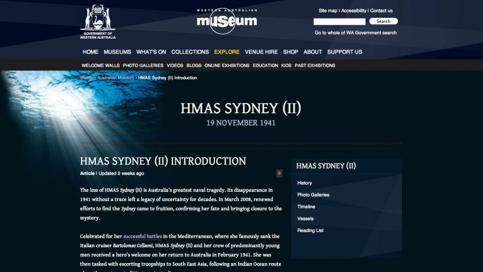 Screen grab from the HMAS Sydney (II) website