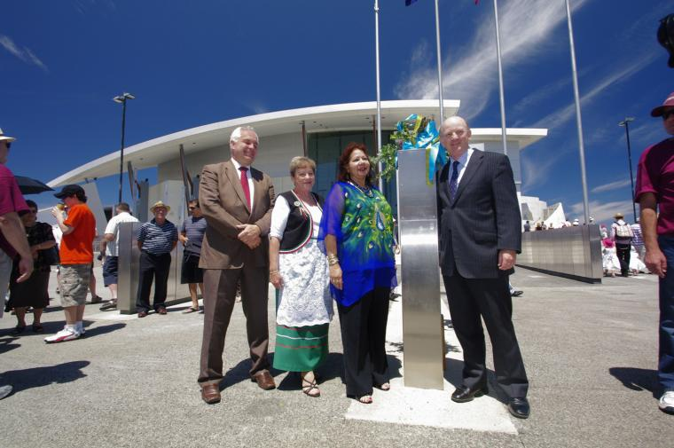 Alec Coles WA Museum CEO, Minister John Day & Irene Stainton opening the walls